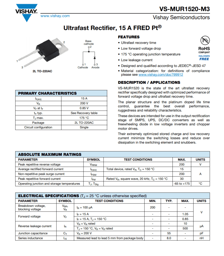MUR1520 diode datasheet