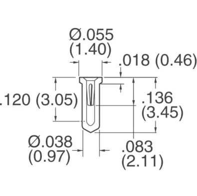 Datasheet Milling dimensions for DIP8 sockets