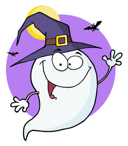 Clipart Illustration of a Cartoon Ghost in a Witch Hat ... (263 x 300 Pixel)