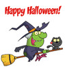new halloween clipart image: clipart illustration of a witch and black cat riding a broom on a happy halloween greeting