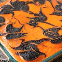 Orange and Black Cream Cheese Swirl Brownies