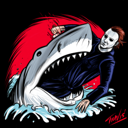 Michael Myers vs Jaws - art by IBTrav Illustrations
