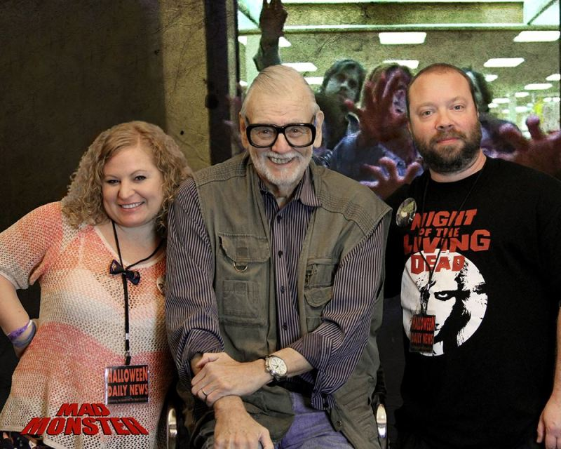 George A. Romero with Sue and Matt Artz of Halloween Daily News, at Mad Monster Party 2016.
