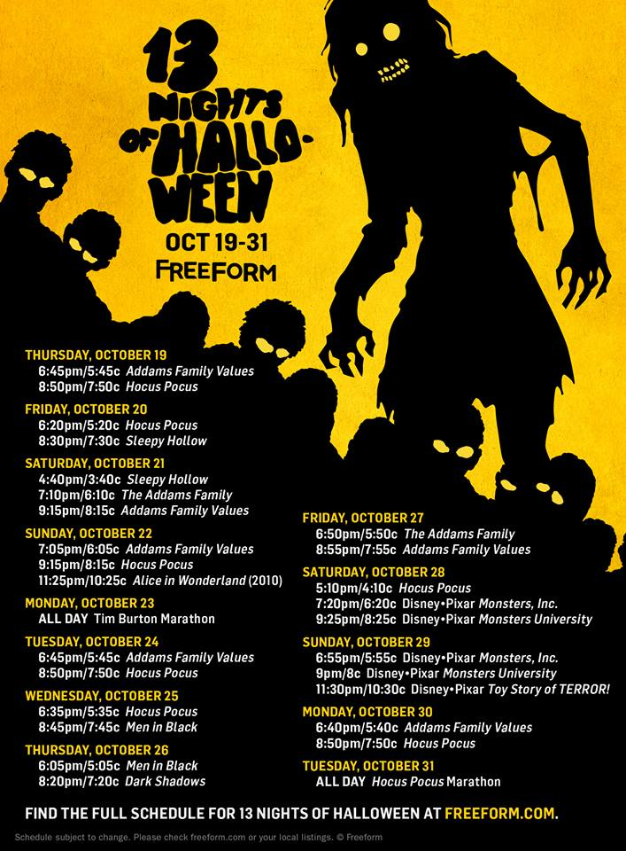 13-nights-of-halloween-2017-schedule