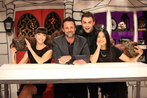 Host Jonathan Bennett with guest judge Juliet Landau and judges Todd Tucker and Shinmin Li on Food Network's 'Halloween Wars'.