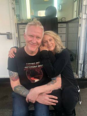 Christopher Nelson and Jamie Lee Curtis on the set of 'Halloween' 2018.
