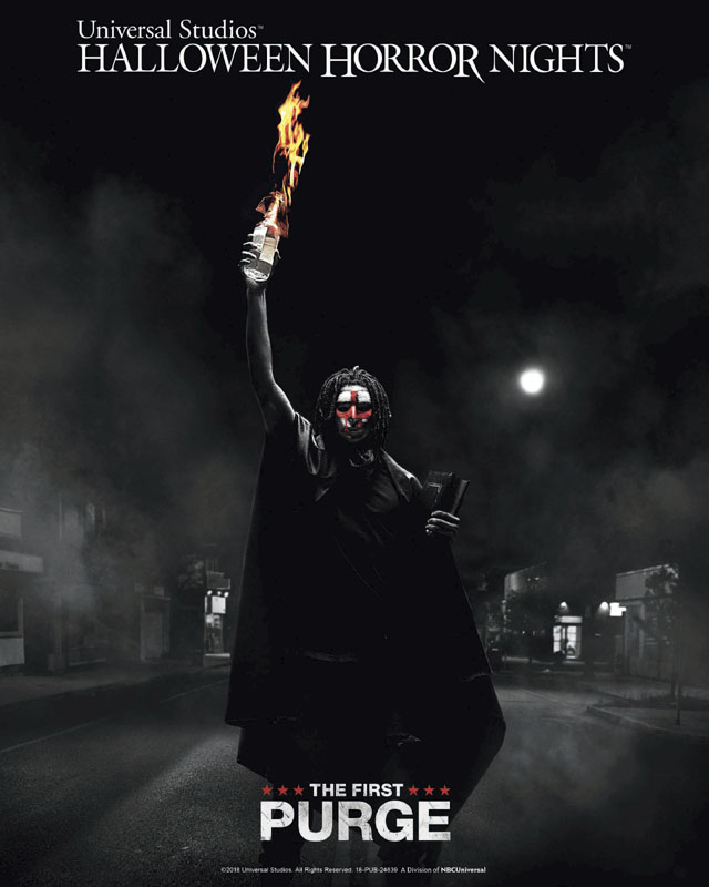 """The First Purge"" maze at Universal Studios Hollywood's ""Halloween Horror Nights,"" beginning Friday, September 14, 2018"