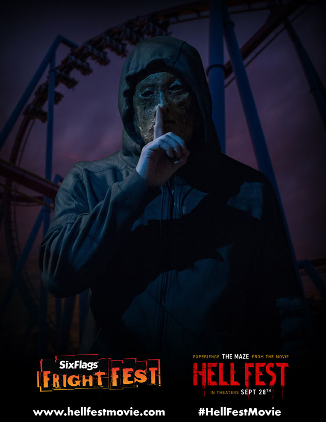 "At Six Flags Fright Fest 2018, room by room, guests must find their way out, or risk being trapped by ""The Other,"" the deranged antagonist from 'Hell Fest', to be released by CBS Films and Lionsgate. (Photo Credit: Jackson Lee Davis/CBS Films)"