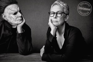 "Michael Myers or ""The Shape"" and Jamie Lee Curtis photographed exclusively for Entertainment Weekly by Art Streiber on September 17th, 2018 in Los Angeles."