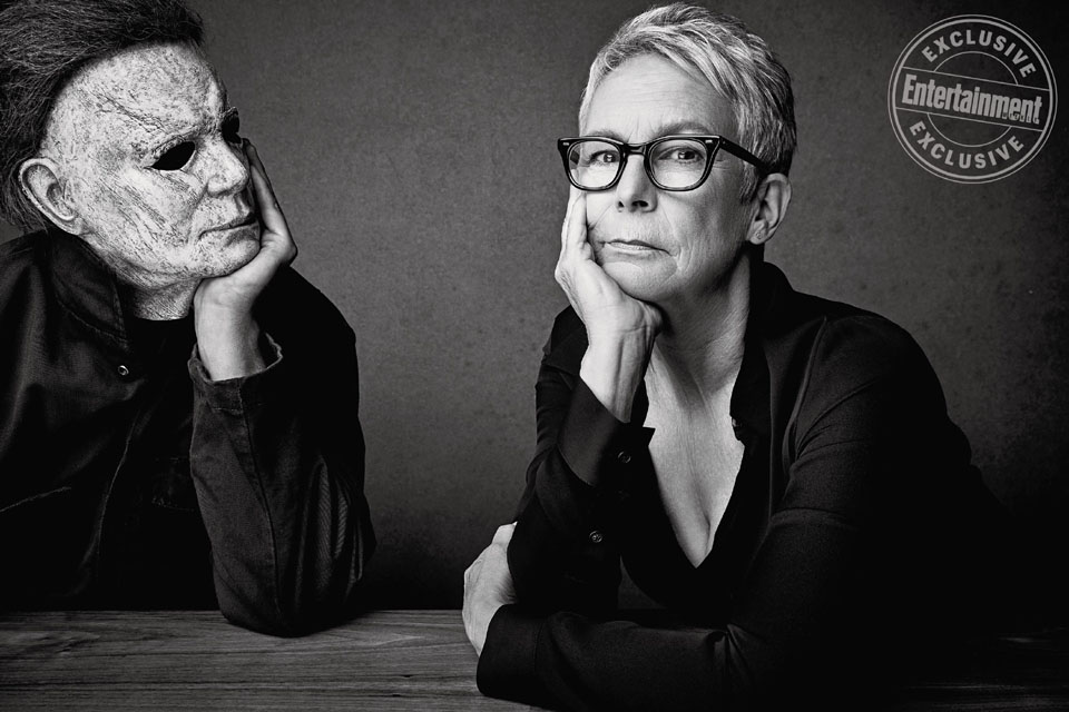 """Michael Myers or """"The Shape"""" and Jamie Lee Curtis photographed exclusively for Entertainment Weekly by Art Streiber on September 17th, 2018 in Los Angeles."""