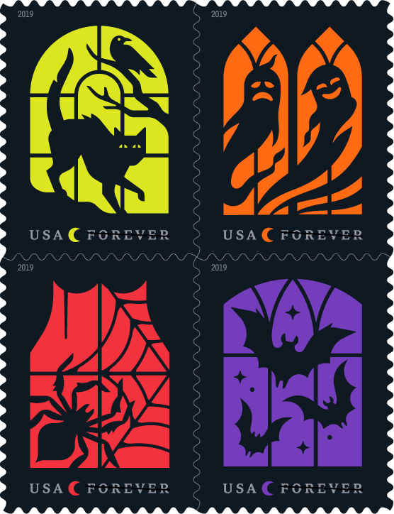 "UU.S. Postal Service ""Spooky Silhouettes"" 2019 Halloween Stamps"