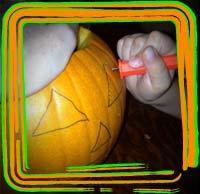 carving pumpkin saw