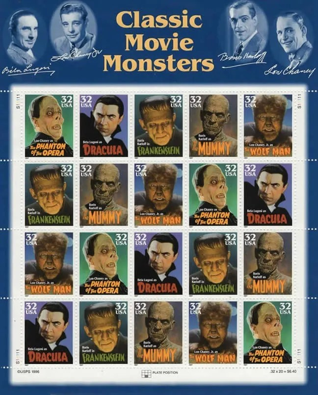 United Postal Service (USPS) 1996 Stamps, Classic Monsters