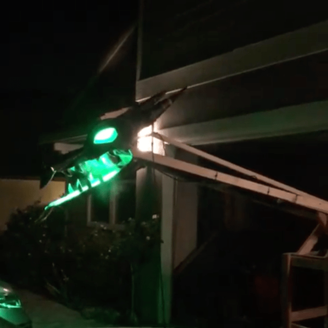 Animated Outdoor Dragon Halloween Prop Nighttime Testing