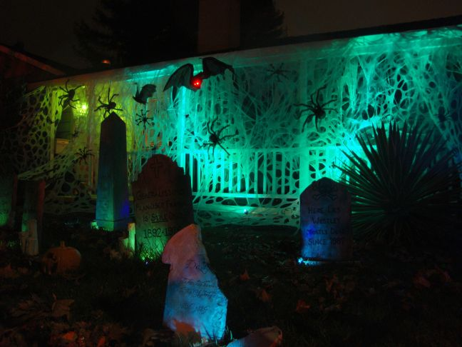Evil Vines Cemetery Outdoor Yard Haunt Blacklight Tombstones at Night