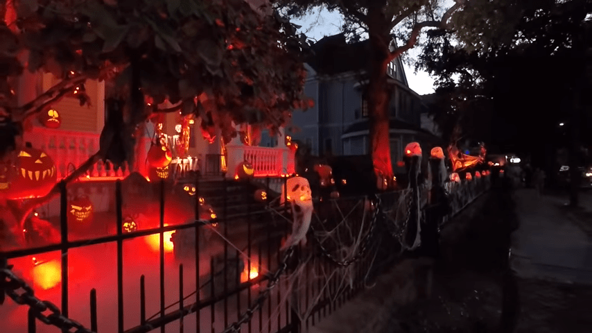 Ghost Manor Halloween Decorated House Show Nightime Streetside