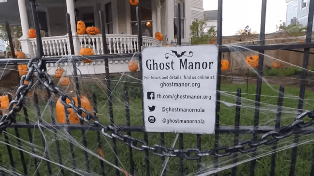 Ghost Manor Halloween Decorated House Show Social Media Sign