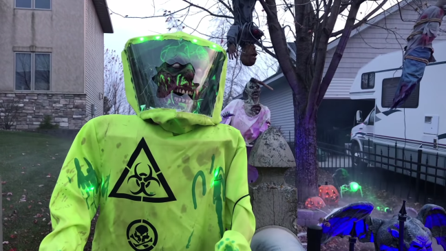 Halloween Graveyard Decoration with Animatronics Hazmat Suit