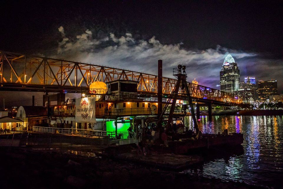 USS Nightmare Haunted Dredge Boat Nighttime Under Bridge