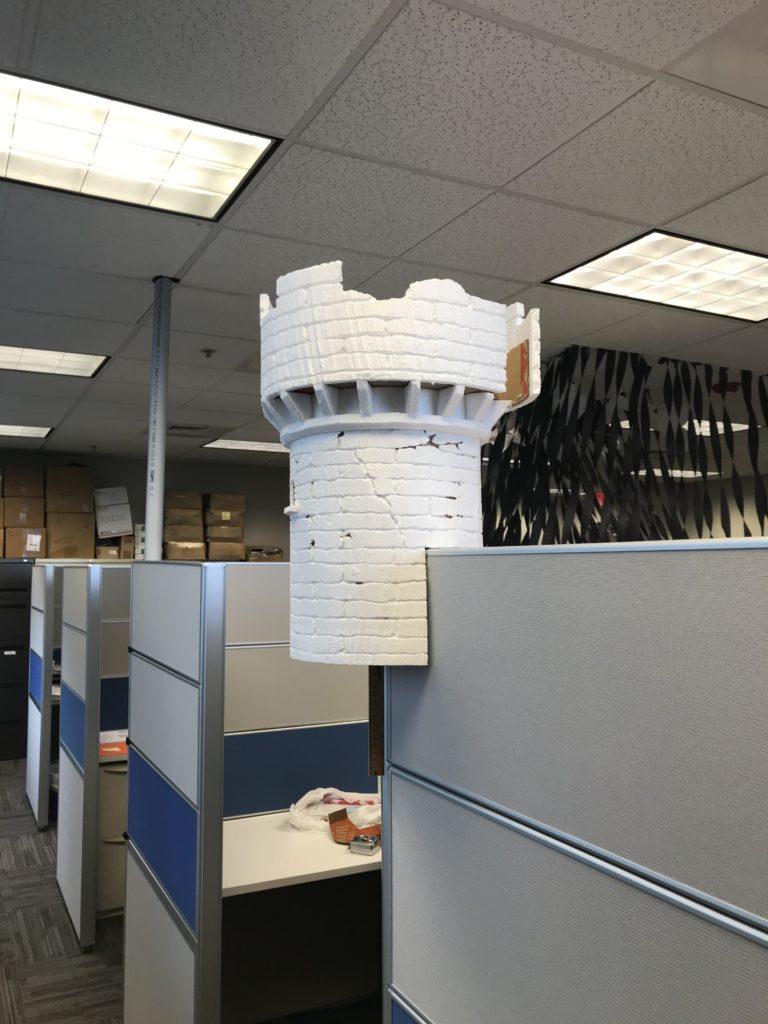 Foam Halloween Office Decoration DIY Castle Fitting Side View