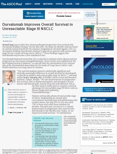 Durvalumab Improves Overall Survival in Unresectable Stage III NSCLC -Screen