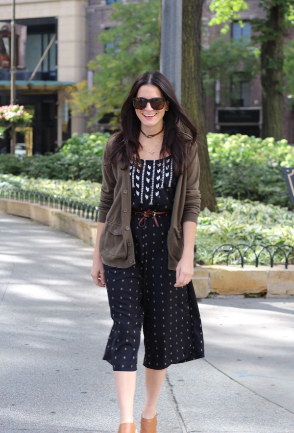 strutting on Michigan Avenue in a cropped fall jumpsuit