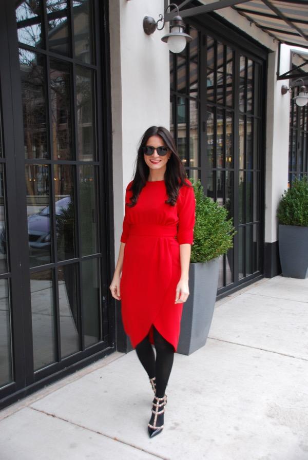walking in a red dress