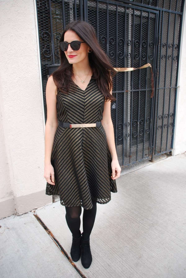 black and gold striped dress