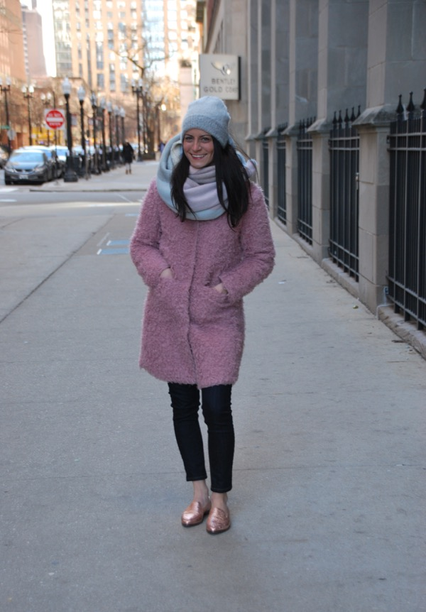 via spiga pink teddy coat with kate spade pink loafers