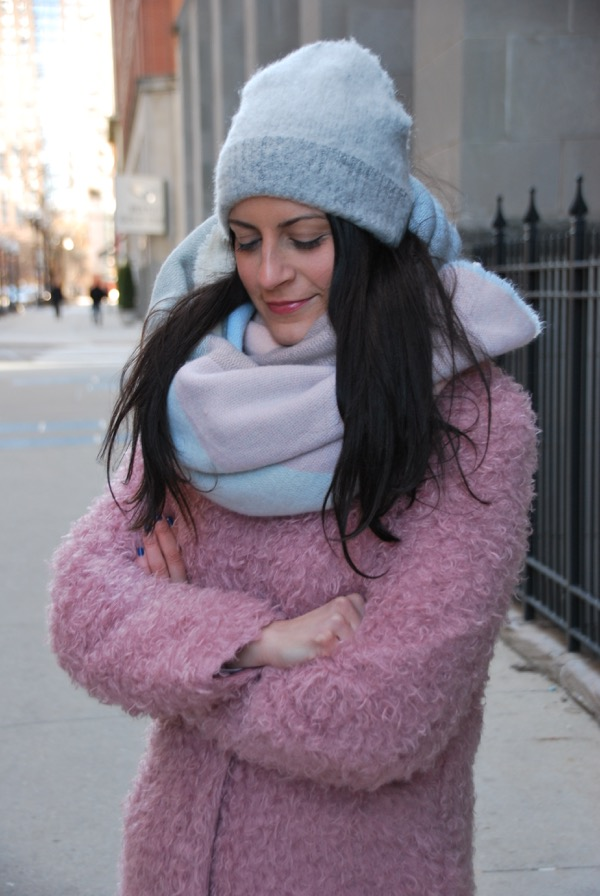 baby hues blanket scarf and pink teddy coat