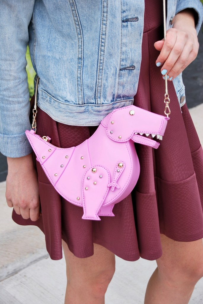 cute pink dinosaur handbag