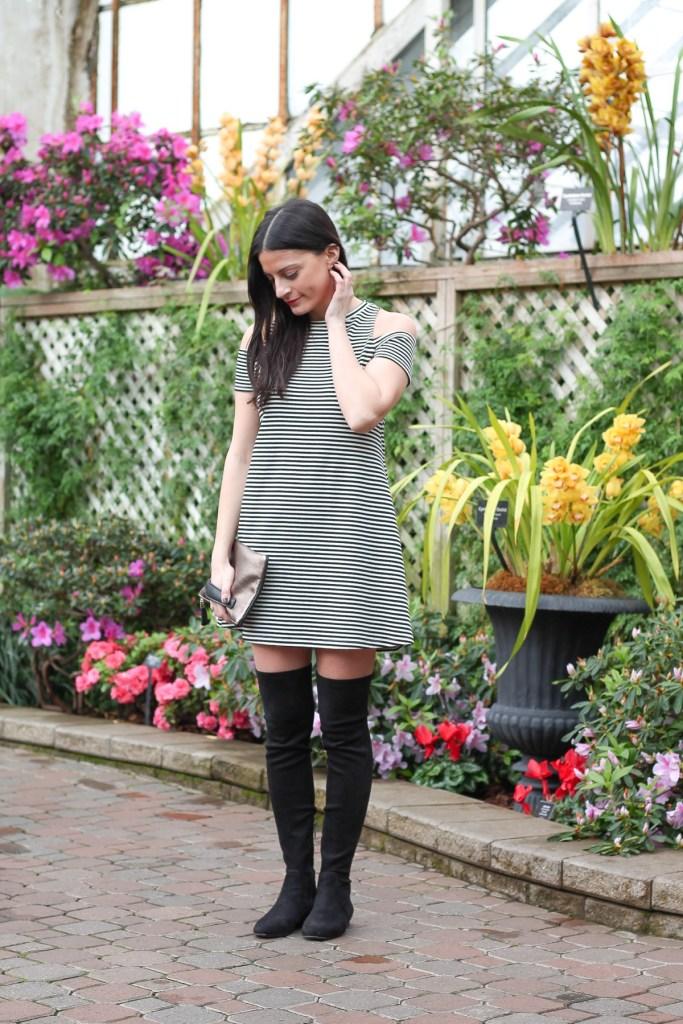 cold shoulder white and black stripe dress
