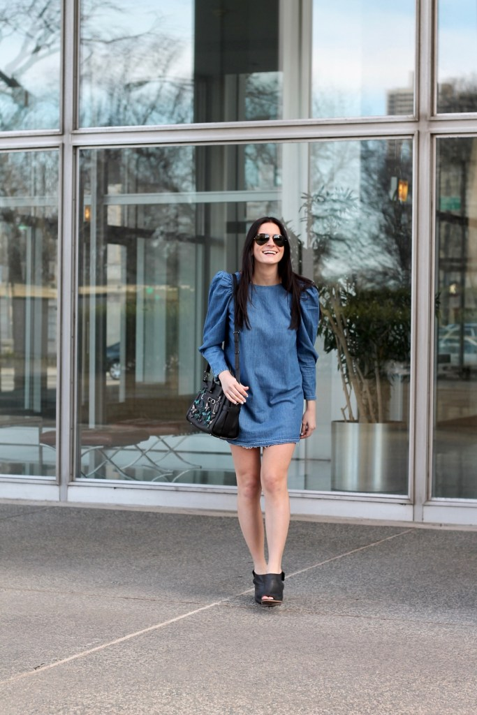 zara puff sleeve denim dress