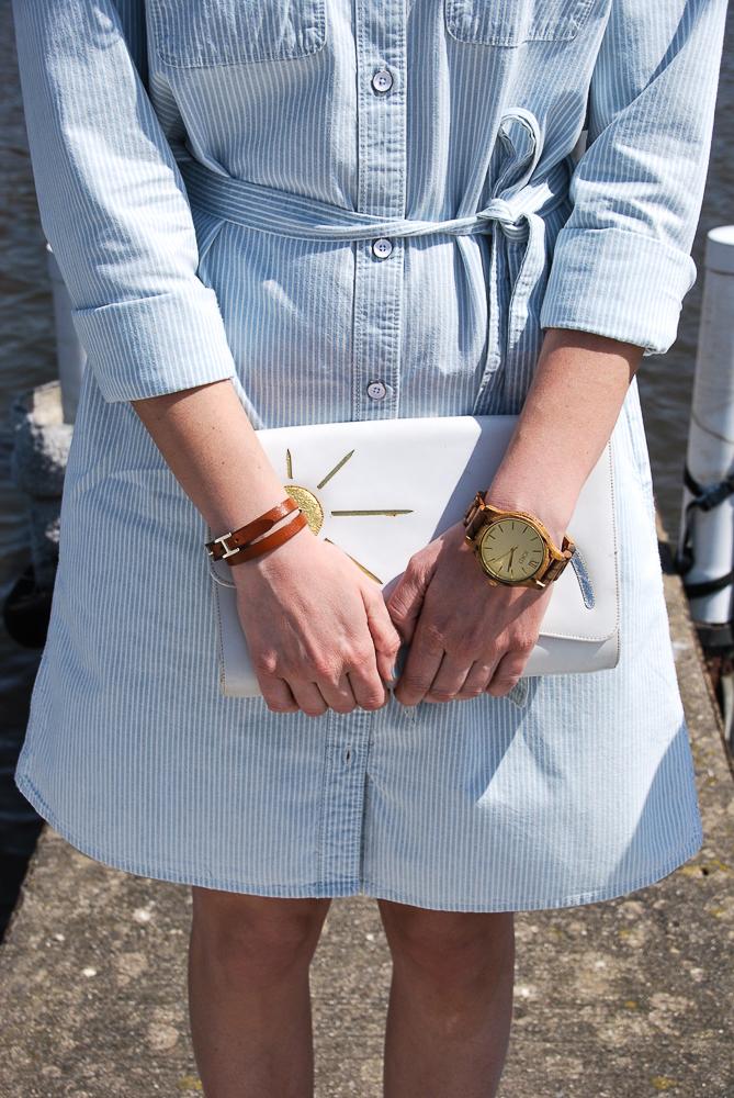 Jord unique wood watch and hermes leather wrap bracelet