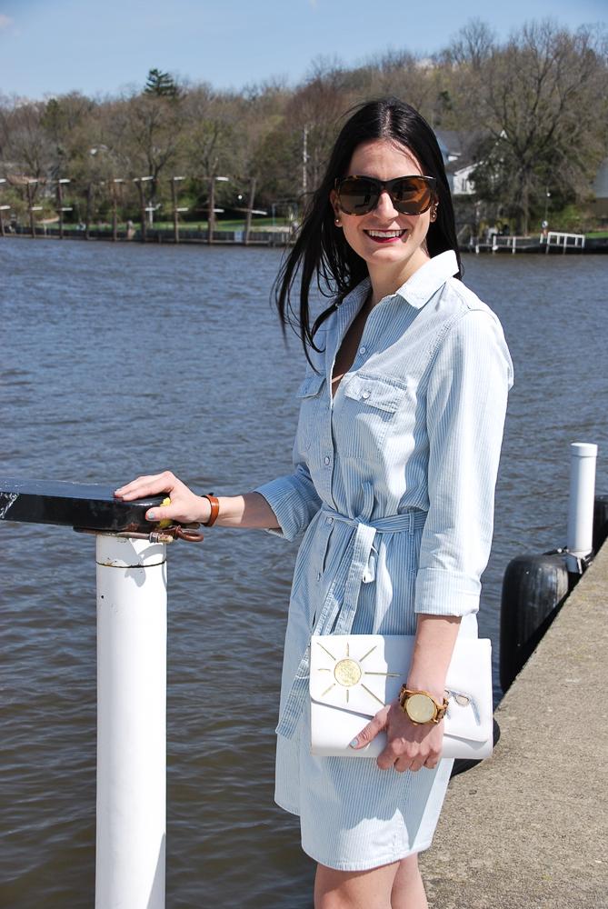 gap light blue and white striped shirt dress