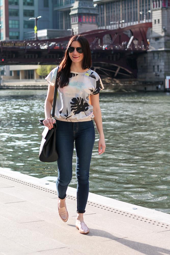 Walking along the Chicago Riverwalk