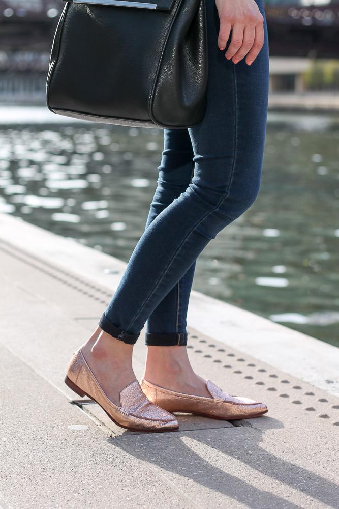 kate spade metallic loafers