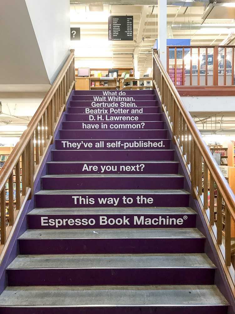 purple staircase at powell's
