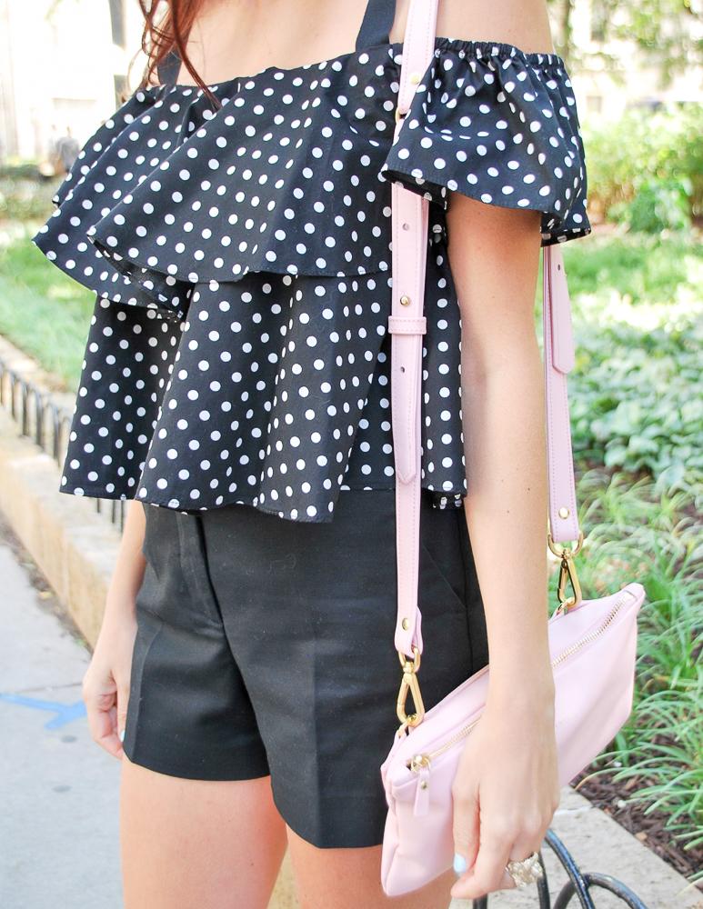 black and white polka dot ruffle tank top