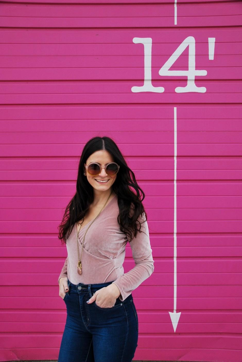 pink velvet bodysuit