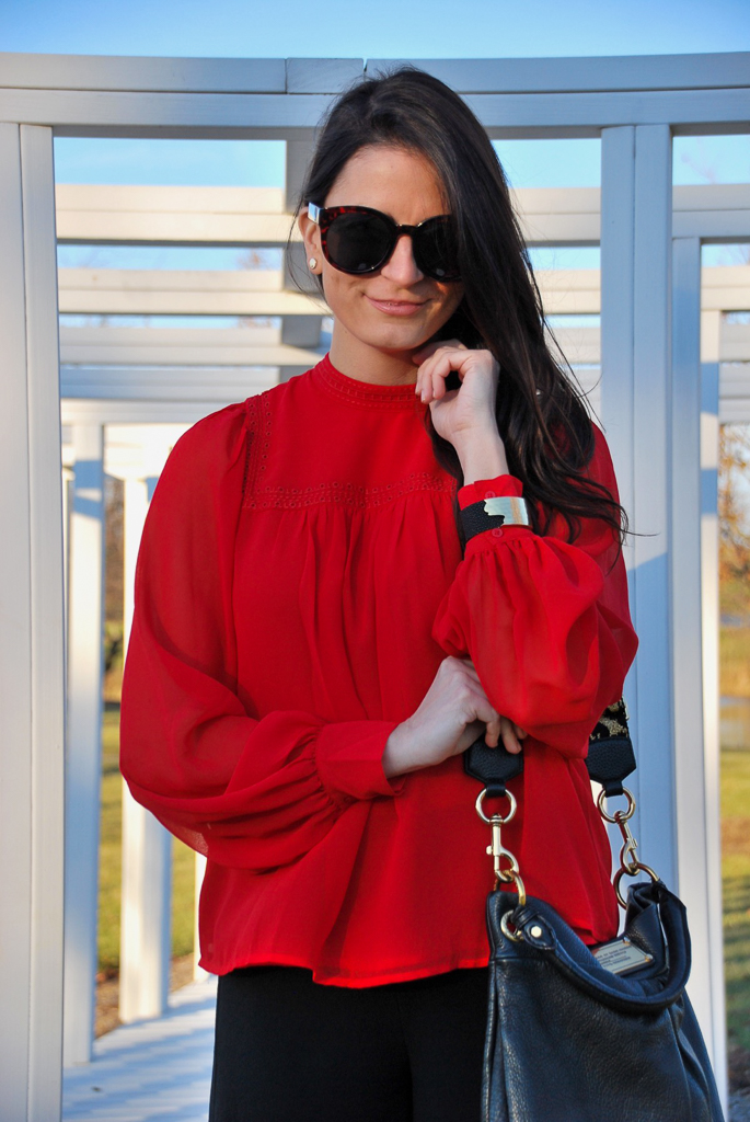 red gap blouse