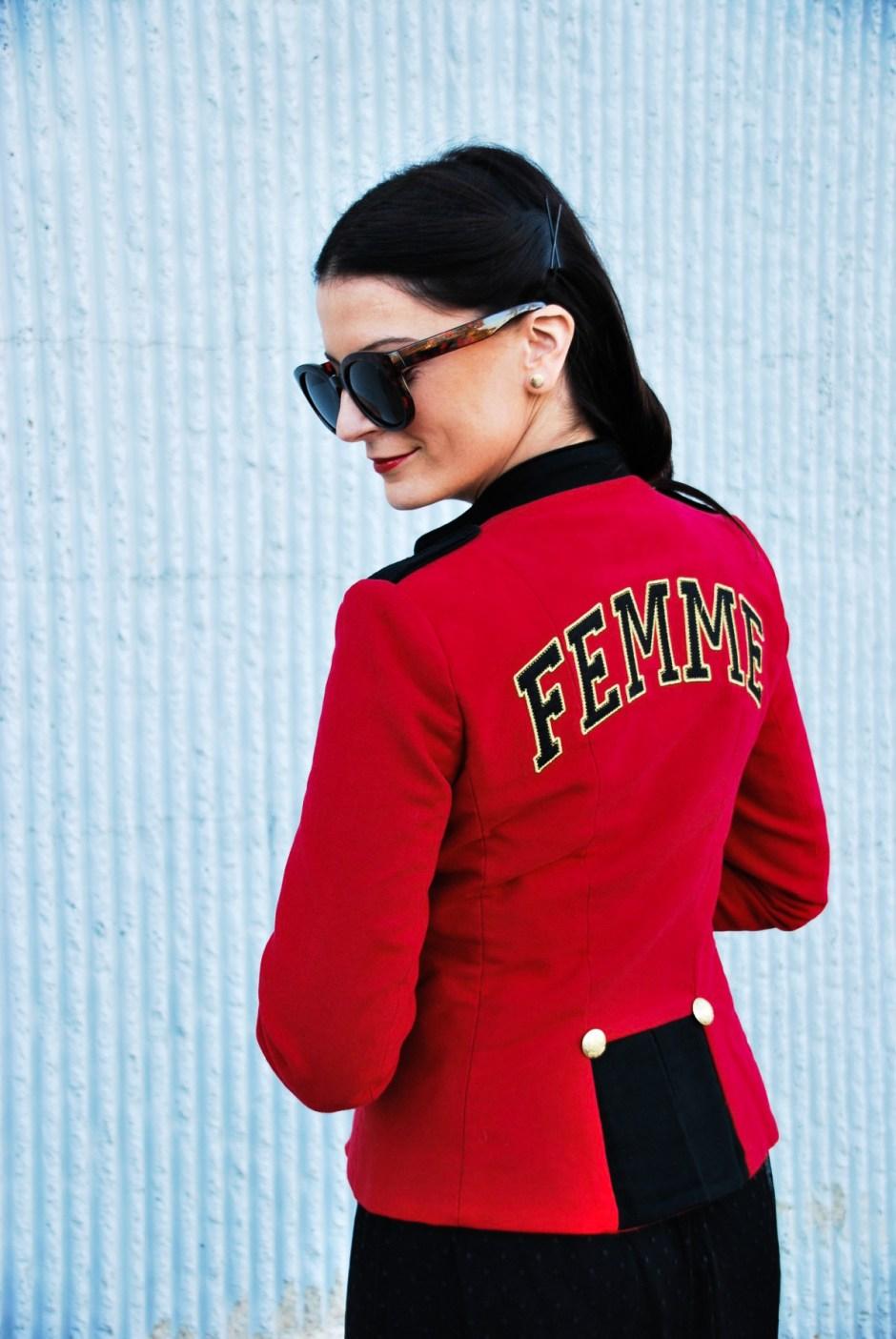 red frames, red jacket