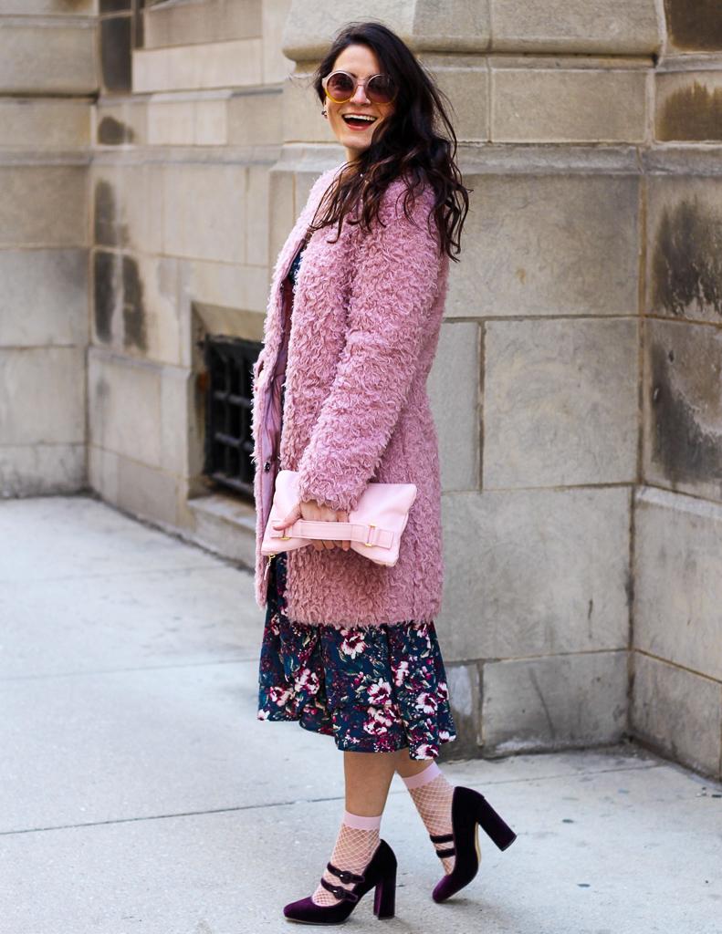 reversible pink teddy coat