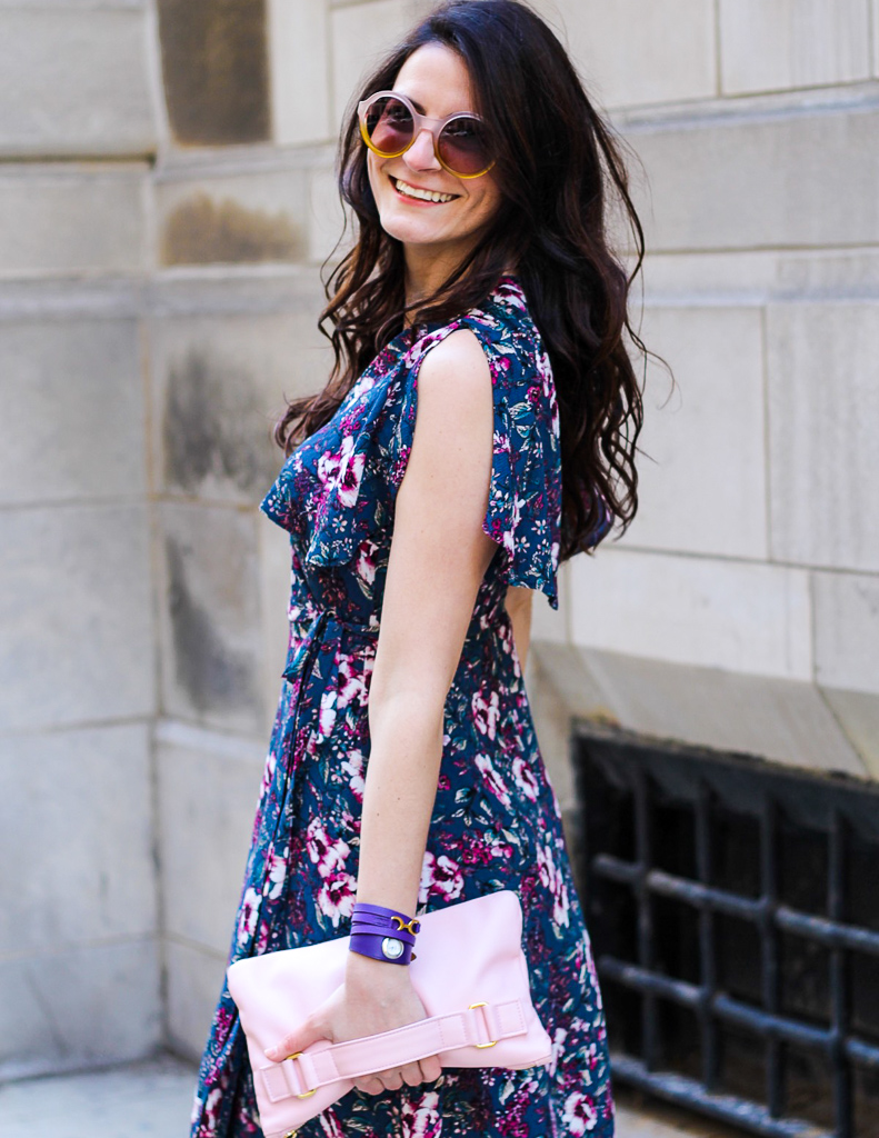 gem color floral wrap dress