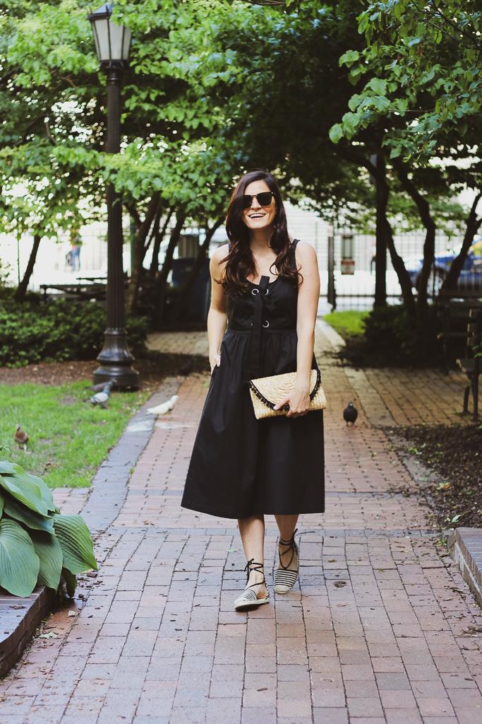 black midi dress