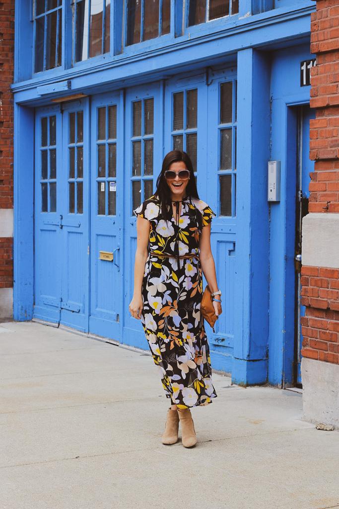 fall florals midi dress with tassels