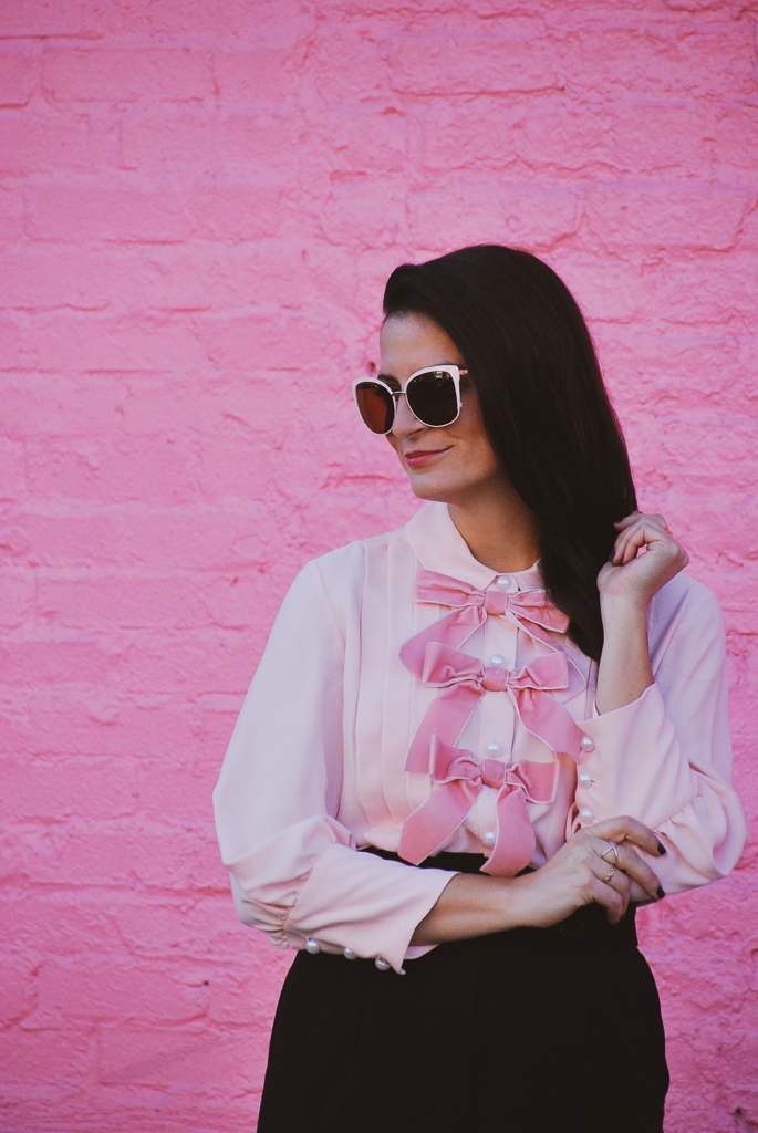 pink velvet bows and pearls on blouse