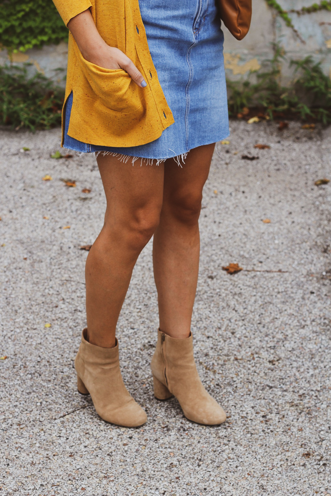 yellow cardigan, denim skirt and suede booties