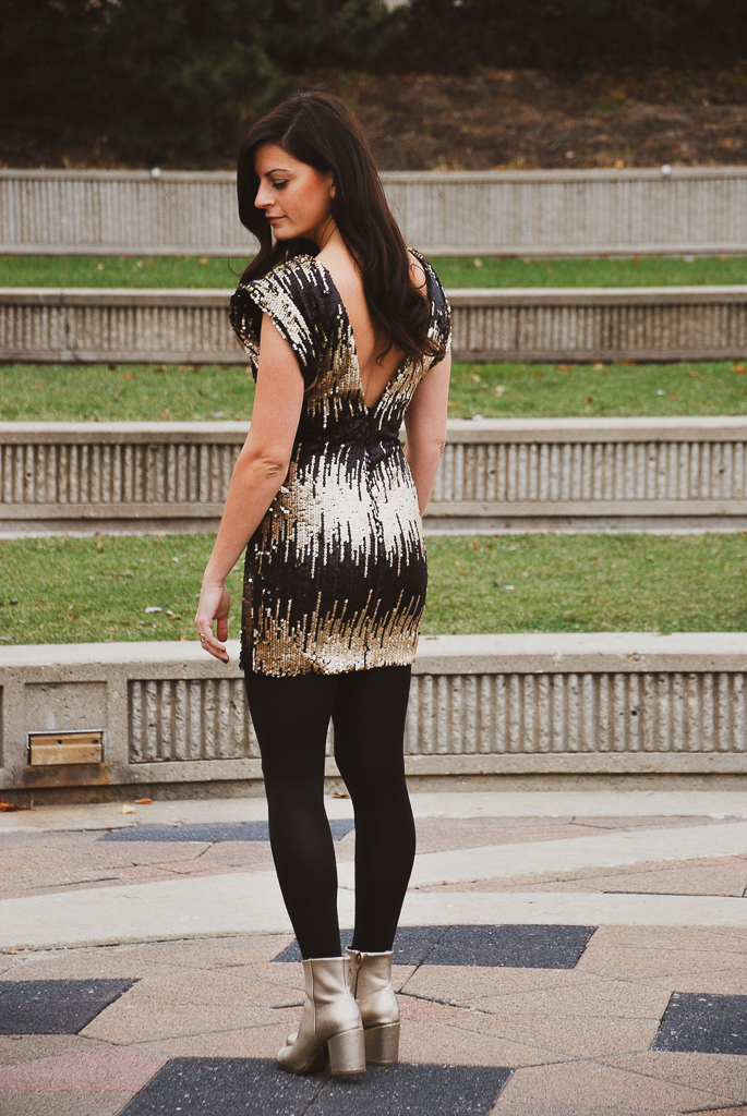 Low V Back Sequin Black and Gold Dress
