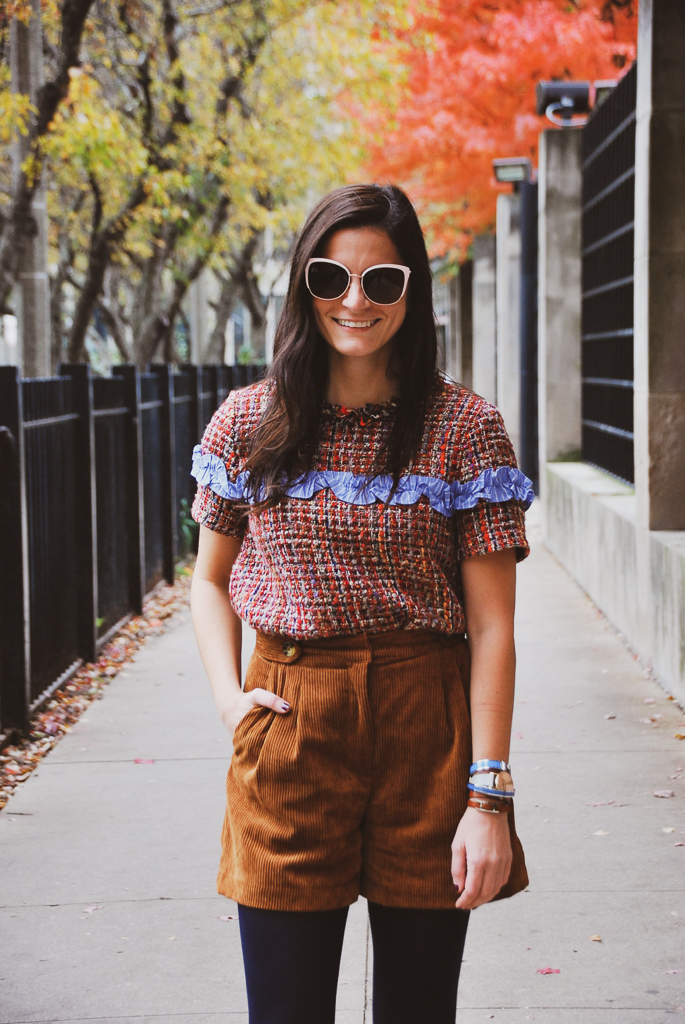 multicolor tweed short sleeve top and camel corduroy shorts